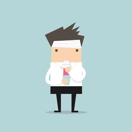 Zakenman nemen van een pil voor een hoofdpijn