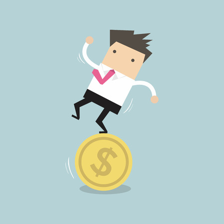 income: Businessman stand on coin vector