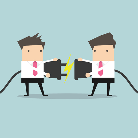 and people: Dos hombre de negocios que intenta conectar el enchufe eléctrico del vector