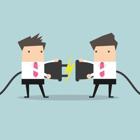 Dwa biznesmen próbuje połączyć wtyczkę elektryczną wektor