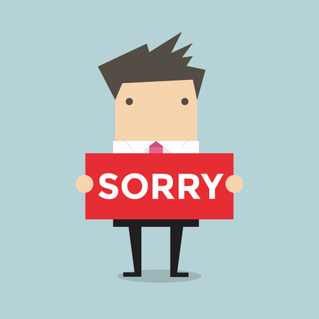 Businessman hands holding sorry sign vector