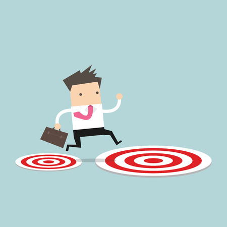 businessman jumping: Businessman jumping from small target to the big target.
