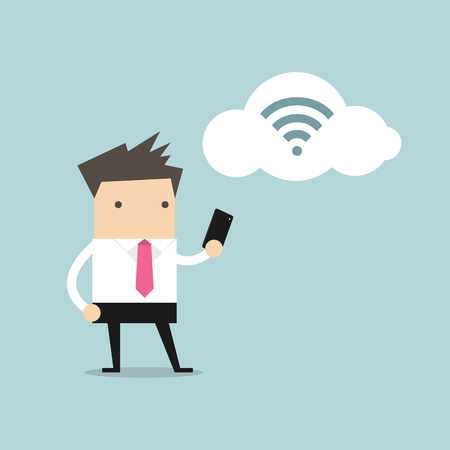 wifi: Businessman with smartphone and wifi on cloud
