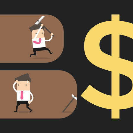 dug: Businessmen searching for money in a tunnel one giving up. Vector