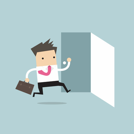 leaving: Businessman running to opened door vector