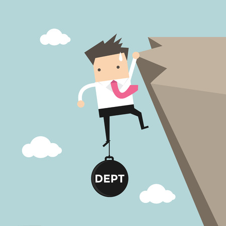 burden: Businessman try hard to hold on the cliff with debt burden