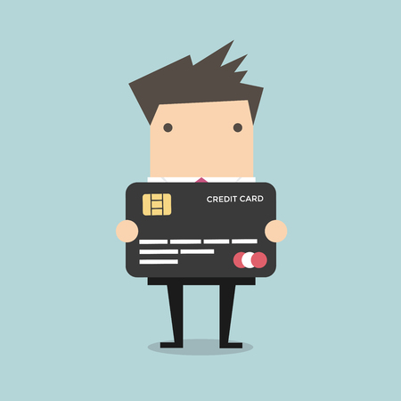 debt: Businessman holding a credit card vector