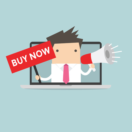 mega phone: Businessman holding BUY NOW sign and megaphone in computer notebook Illustration