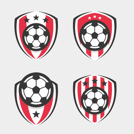 Soccer Logo or Football Club Sign Badge Set