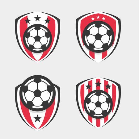 bannière football: Logo Soccer ou Football Club Sign Badge Set Illustration