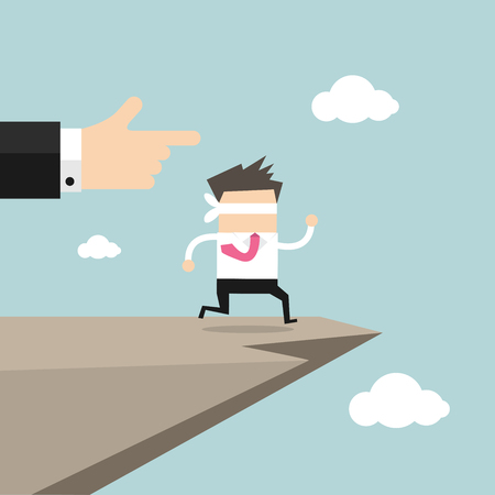 cliffs: Leap of faith concept. Blindfolded businessman walks off a cliff.