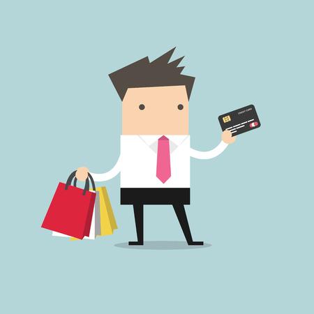 zakenman met credit card en boodschappentassen