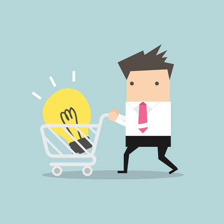 carting: Businessman with shopping carting and light bulb Idea vector