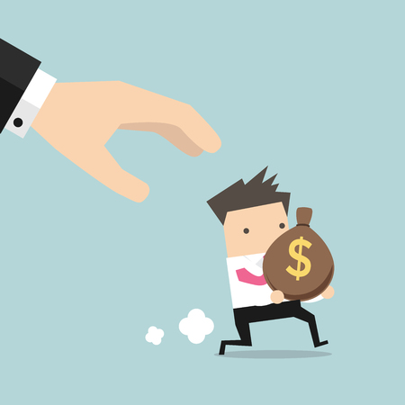 steal brain: Cartoon hand tries to grab the bag of money running businessman. Illustration