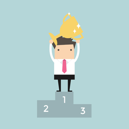 happiness or success: Businessman holding winning trophy vector