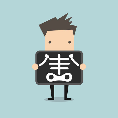 skeptical: Businessman is getting x-ray examination vector Illustration