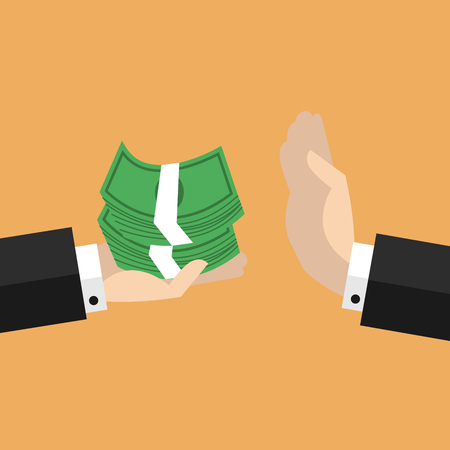 payola: Businessman hand refusing the offered money vector