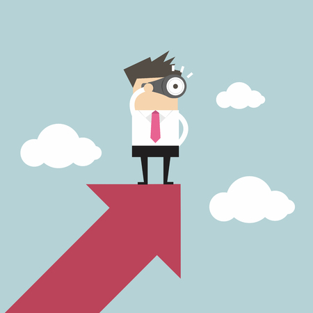 Geschäftsmann schaut durch ein Teleskop auf Wachstum Pfeil Illustration