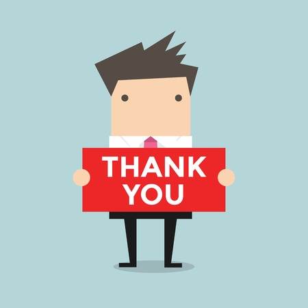 young businessman: Businessman hands holding Thank you sign vector Illustration
