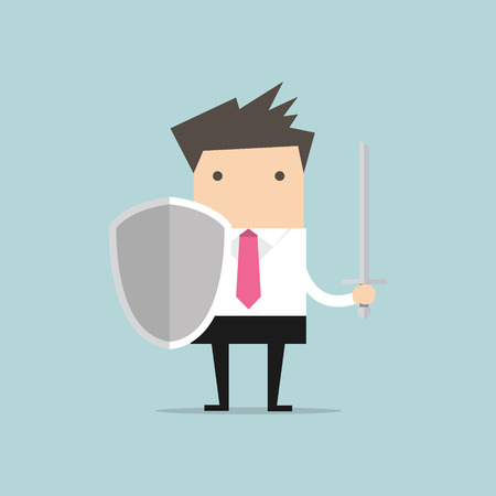 safety at work: Businessman warrior with shield and sword