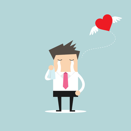 heartbreak issues: Businessman crying broken heart with heart flying away