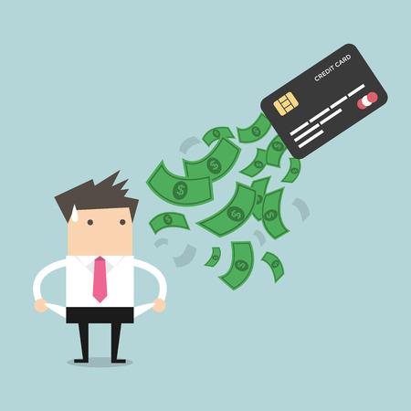 Zakenman geen geld. schuld van credit card. Het concept van de schuld