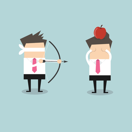 Blindfold businessman aiming to shoot at apple on another mans head vector Illustration