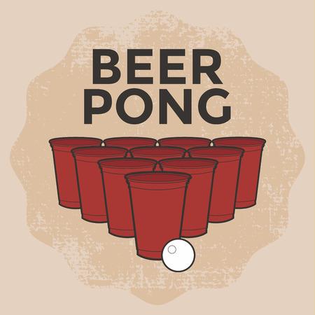 Beer Pong Juego de Beber Foto de archivo - 50968060