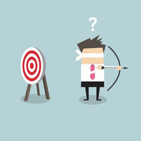 Blinddoek zakenman die pijl en boog op zoek naar doel in de verkeerde richting vector