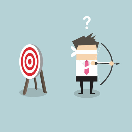 by shot: Blindfold businessman holding bow and arrow look for target in wrong direction vector