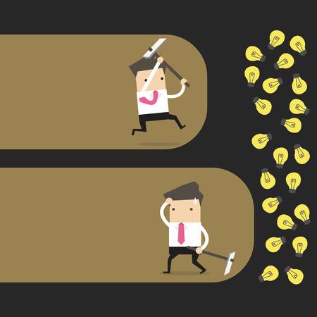 Concept van een zakenman die geeft niet op en won zijn prijs