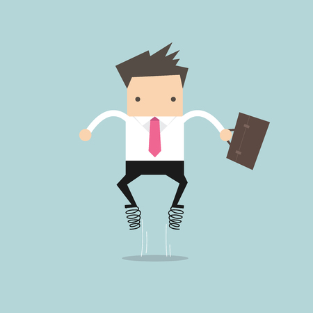 Businessman jump up with spring vector Illustration