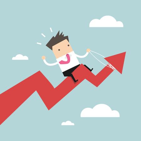 Businessman riding success arrow graph