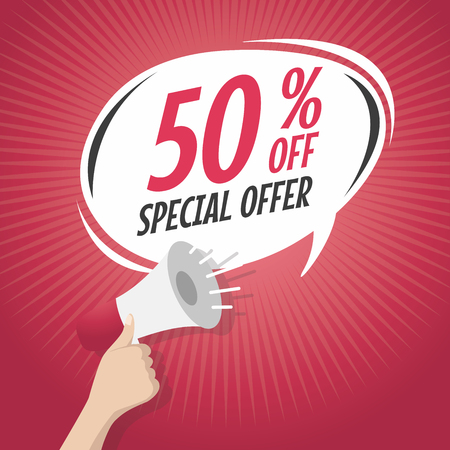 50 off: Sale 50% off Special Offer cartoon speech bubble with loudspeaker vector