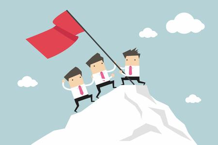 El hombre de negocios Equipo de Escalada en lo alto pico, trabajo en equipo concepto