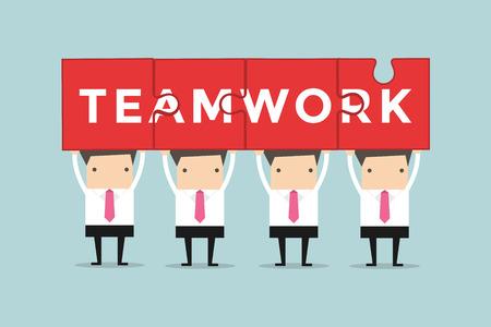 Los hombres de negocios sostienen que muestra el trabajo en equipo y rompecabezas