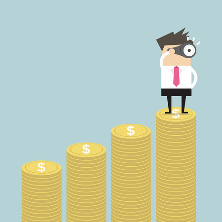 Businessman looking future on money graph vector