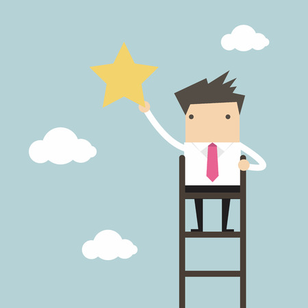 clamber: Businessman on a ladder grab star in the sky Illustration