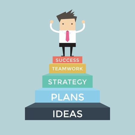 El hombre de negocios que sube al éxito, de 5 pasos para el éxito Foto de archivo - 53893143