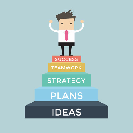 Zakenman gaan tot succes, 5 stappen naar succes Vector Illustratie