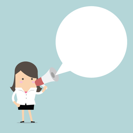 Businesswoman holding megaphone with speech bubble for text