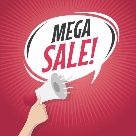 retro style: Mega sale speech bubble with loudspeaker