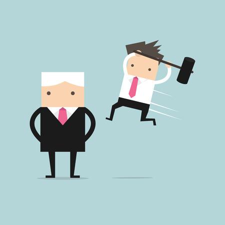 failed plan: Businessman jump smash boss from the back