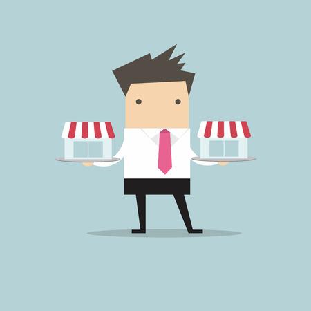 Homme d'affaires avec une boutique de Franchis sur le plateau, le concept de franchise. vecteur. design plat