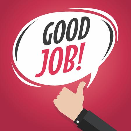 great success: Good job cartoon speech bubble with thumb up vector