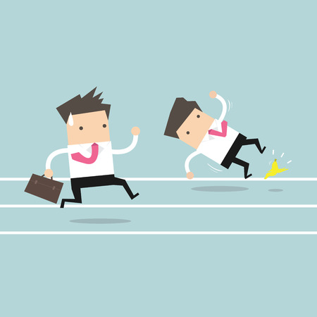competitor: Businessman running with his competitor. Business competition concept