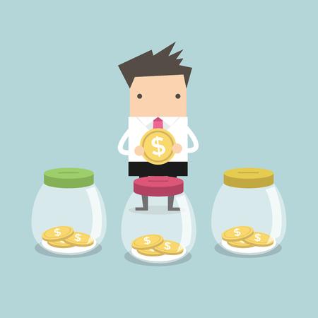 business money: Businessman putting coin into jar vector