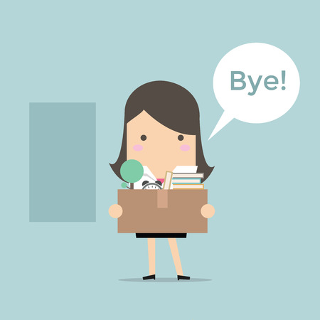 resign: Businesswoman Leaving Job vector Illustration
