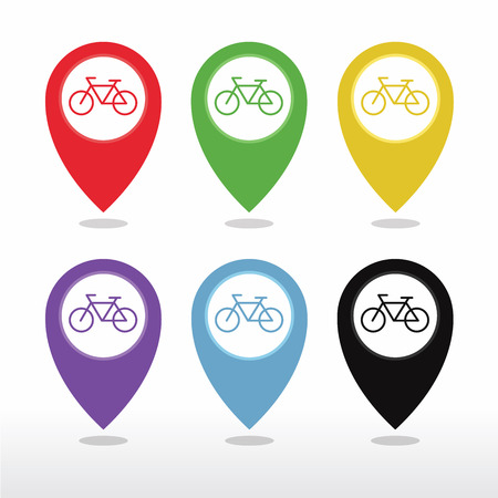 cycle: Bicycle, Bicycle Shop or Bicycle Parking Map Pointer Icon vector Illustration