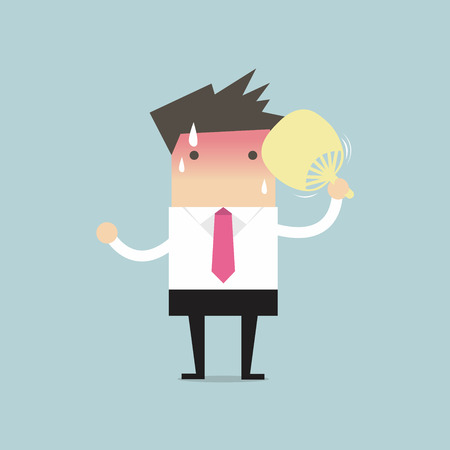 blow: Businessman very hot with folding fan blow Illustration